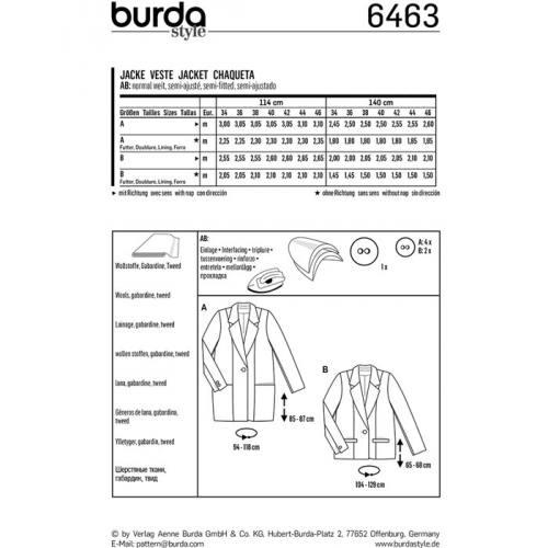 Patron Burda 6463 : Veste Taille : 34-46