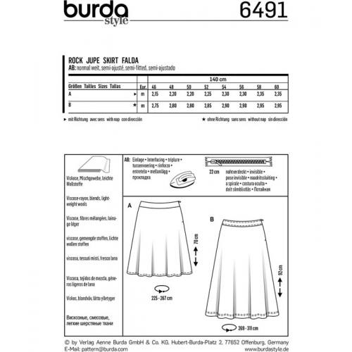 Patron Burda 6491 : Jupe Taille : 46-60