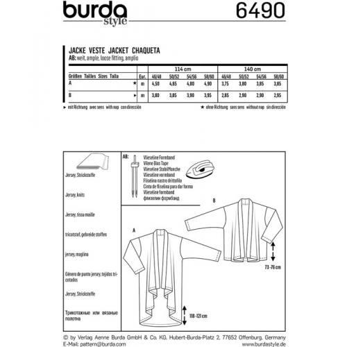 Patron Burda 6490 : Veste Taille : 46/58-58/60
