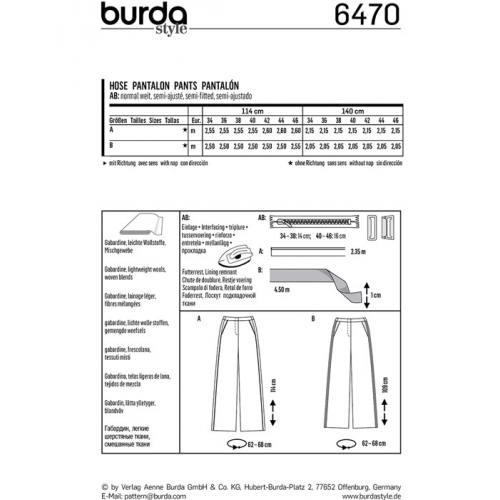 Patron Burda 6470 : Pantalon Taille : 34-46
