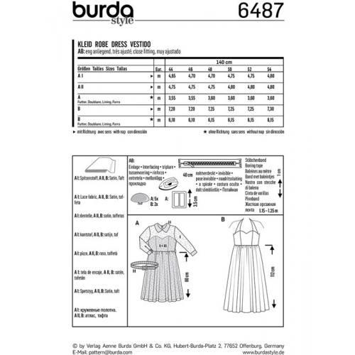 Patron Burda 6487 : Robe Taille : 44-54