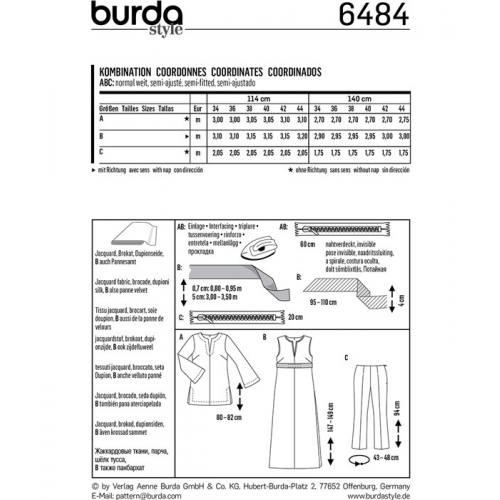 Patron Burda 6484 : Coordonnés Taille : 34-44