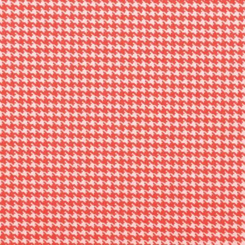 Coton imprimé pied de poule rouille