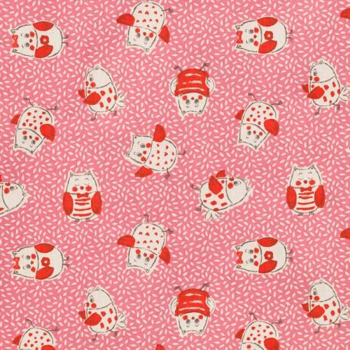 Coton rose motif grain de riz et chouette