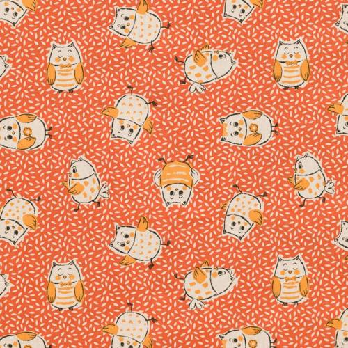 Coton orange motif grain de riz et chouette