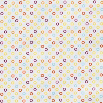 Coton blanc motif ronds multicolores