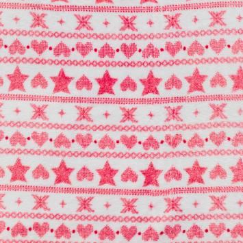 Tissu polaire blanc motif géométrique vermillon