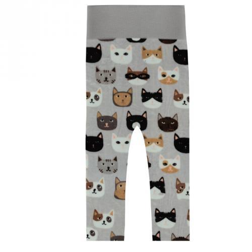 Tissu polaire grège motif chat