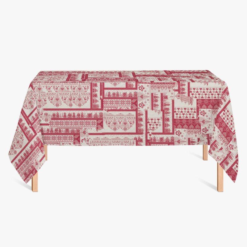 Nappe toile polycoton imprimée point de croix Noël grande largeur