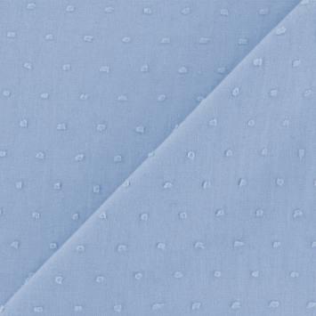 Voile de coton plumetis bleu