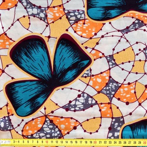 Wax - Tissu africain orange, gris et vert pailleté 76