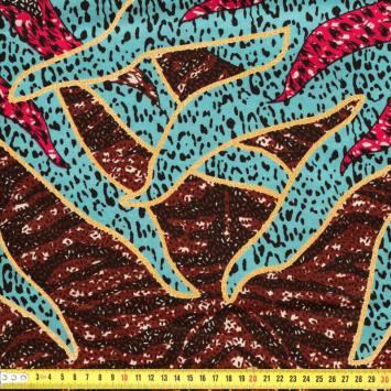 Wax - Tissu africain motif grand soleil pailleté 80