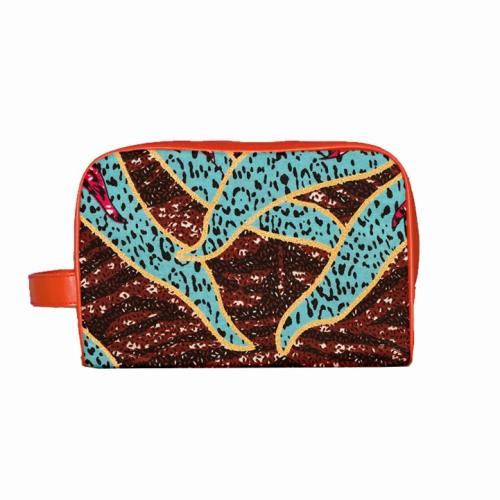 Trousse Wax - Tissu africain motif grand soleil pailleté 80