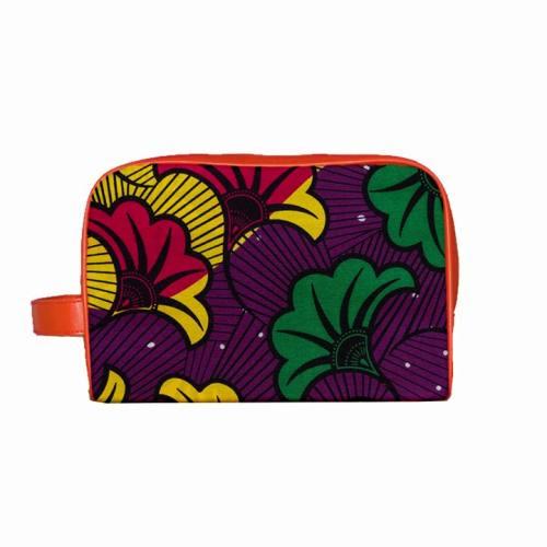 Trousse Wax - Tissu africain violet et jaune 72
