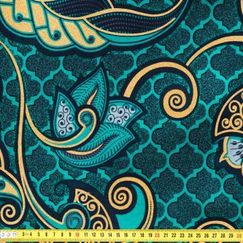 Wax - Tissu africain bleu vert pailleté 74