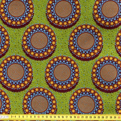 Wax - Tissu africain vert pomme motif rond pailleté 70