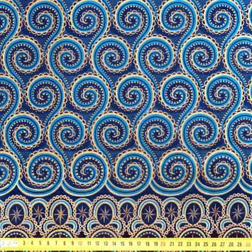 Wax - Tissu africain spirale bleu et doré pailleté 71