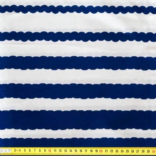 Wax - Tissu africain enduit bleu et blanc rayure 90