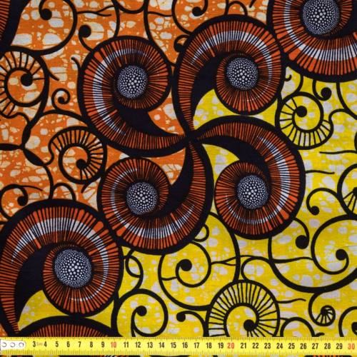 Wax - Tissu africain jaune et orange 86