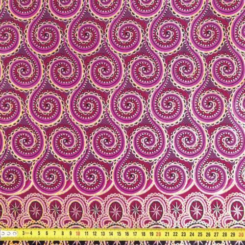 Wax - Tissu africain spirale rose et doré pailleté 66