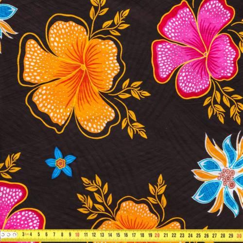 Wax - Tissu africain enduit chocolat imprimé à fleurs 81