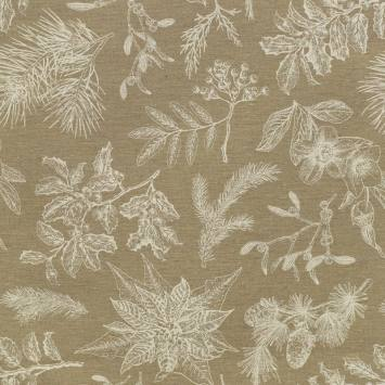 Toile polycoton enduit imprimée branche d'hiver Noël