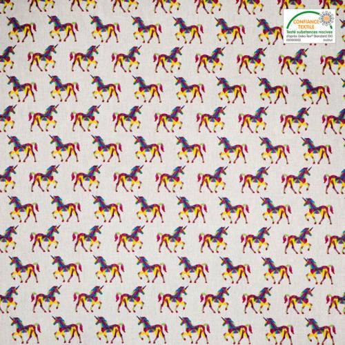 Coton blanc imprimé licorne graphique multicolore
