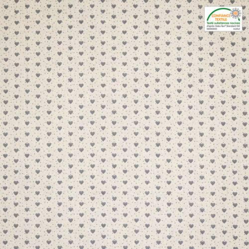 Coton ivoire imprimé petit coeur gris