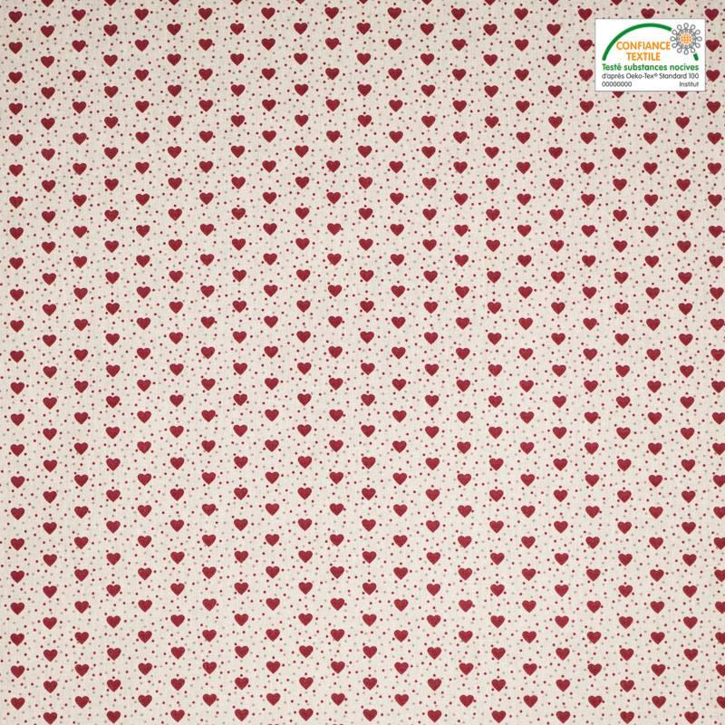 Coton ivoire imprim petit coeur rouge pas cher tissus price - Tissus rouge pas cher ...