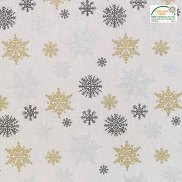 Coton Noël motif flocon argent, or et gris