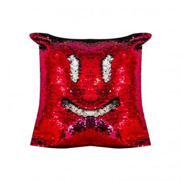 Housse coussin sequins réversibles rouge/argent 50x50 cm