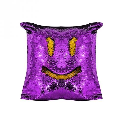 Housse coussin sequins réversibles violet/or 50x50 cm