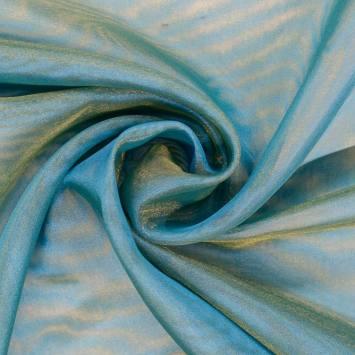 Voilage organza bicolore bleu turquoise et jaune
