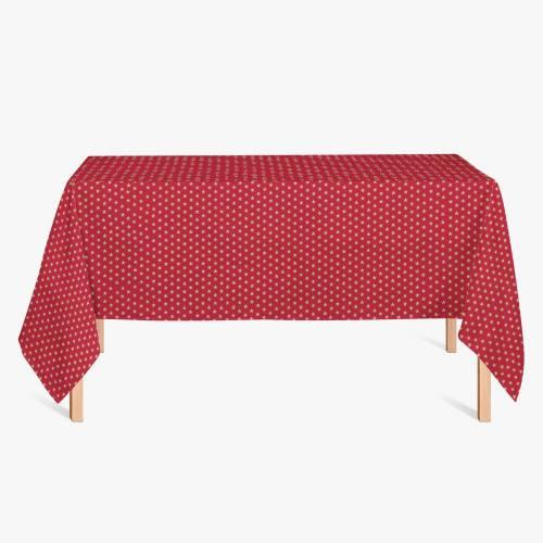 Coton Noël rouge imprimé étoiles dorées