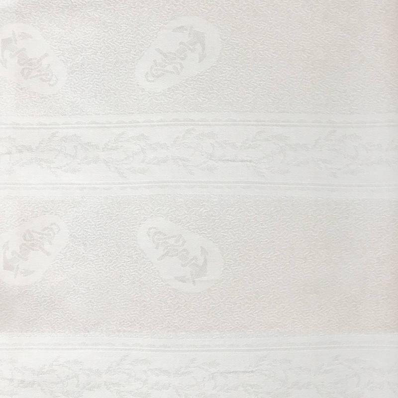 Tissu jacquard damassé blanc motif ancre marine 120 cm