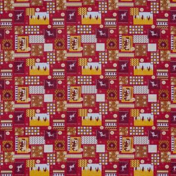 Coton rouge imprimé Noël