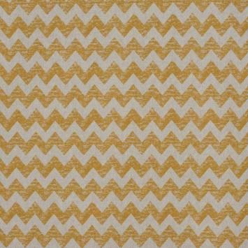 Toile polycoton imprimé zig zag jaune