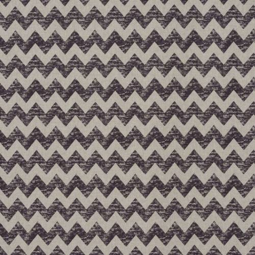 Toile polycoton imprimé zig zag marron