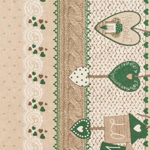 Coton enduit beige coeurs verts