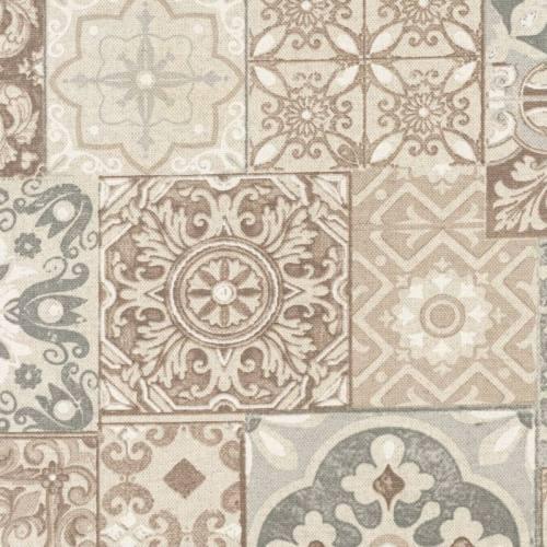 Coton enduit imprimé carreaux de ciment taupe