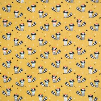 Coton ocre imprimé raton laveur