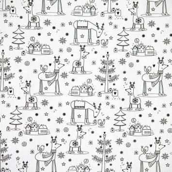 Coton à colorier motif renne