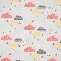 Coton gris clair imprimé nuage