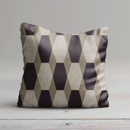 Toile polycoton imprimé hexagone marron