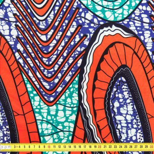 Wax - Tissu africain orange, vert et bleu 101