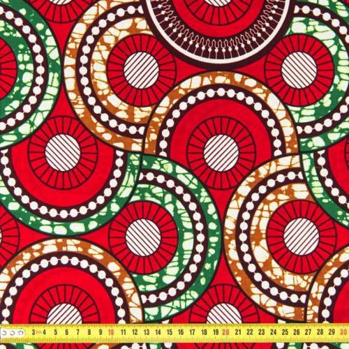 Wax - Tissu africain rouge, marron et vert 96