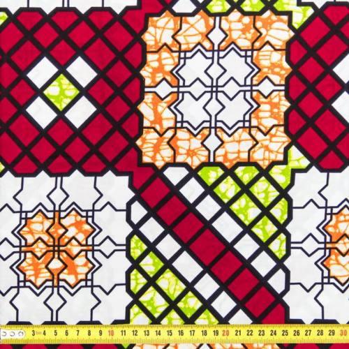 Wax - Tissu africain rouge, vert et orange 102