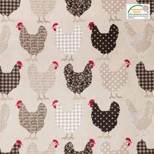Coton grège imprimé poulette