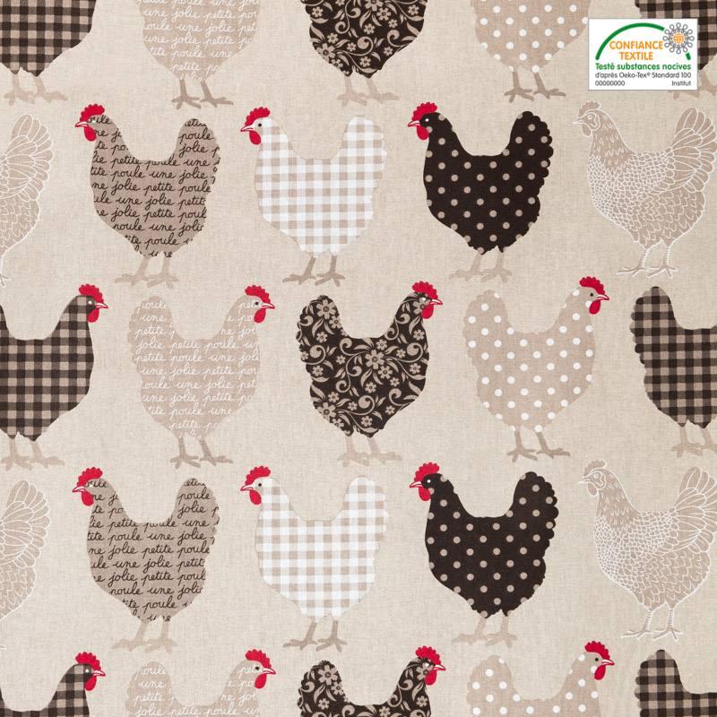 Coton écru imprimé poules