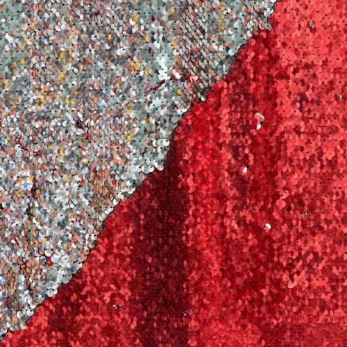 Coupon tissu sequins réversibles rouge/argent